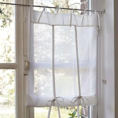 rideau de cuisine blanc style cottage rideaux voilages pinterest rideaux de cuisine. Black Bedroom Furniture Sets. Home Design Ideas