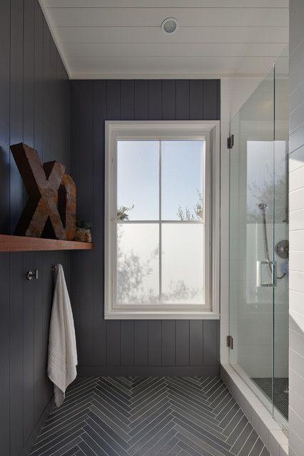Herringbone Tiled Floors And Beadboard Walls Gray Beadboard Walls And White Beadboard Ceiling Herringbone Tile Bathroom Bathroom Design Bathroom Inspiration