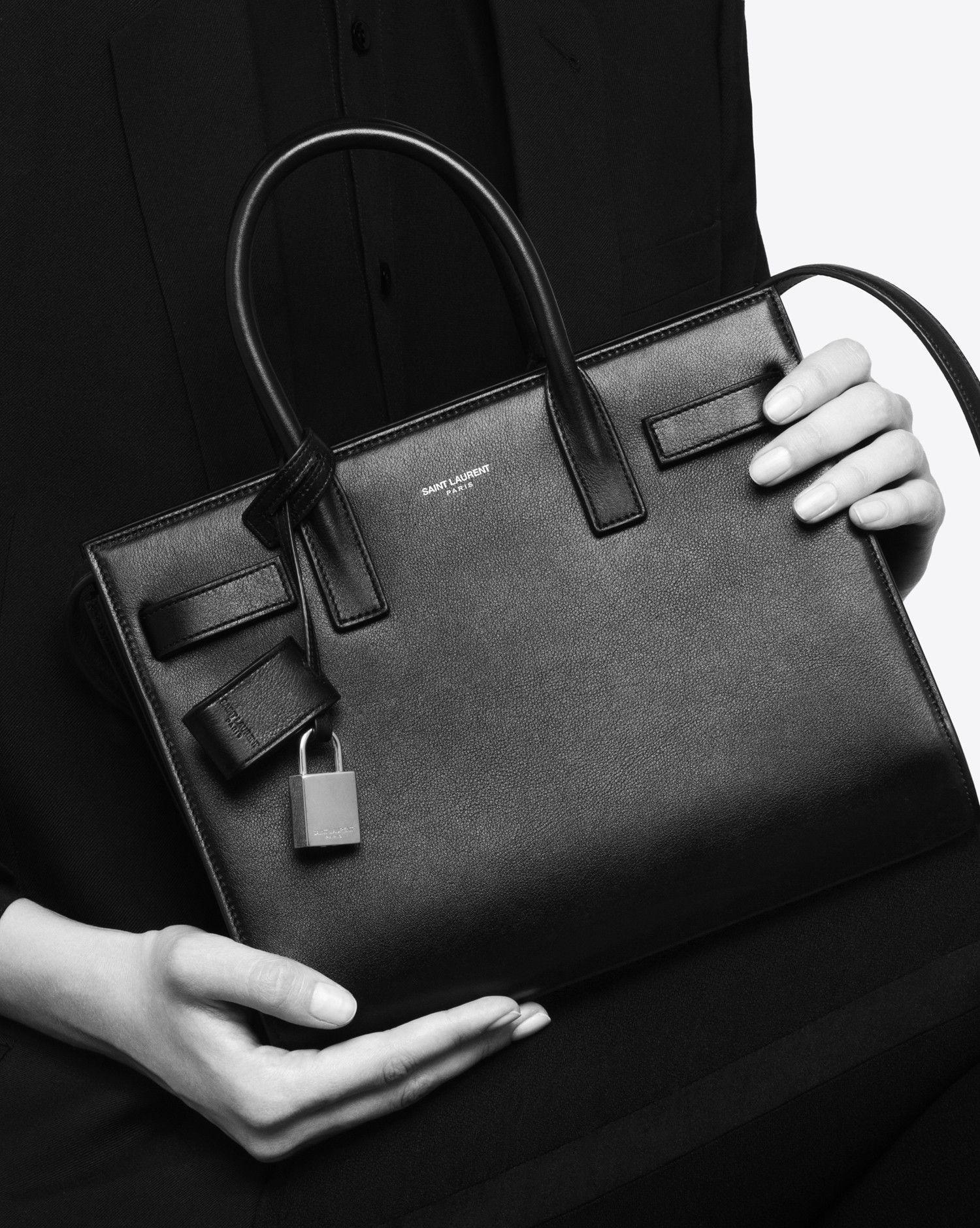 89dba141 Saint Laurent Classic Nano Sac De Jour Bag In Black Grained Leather ...