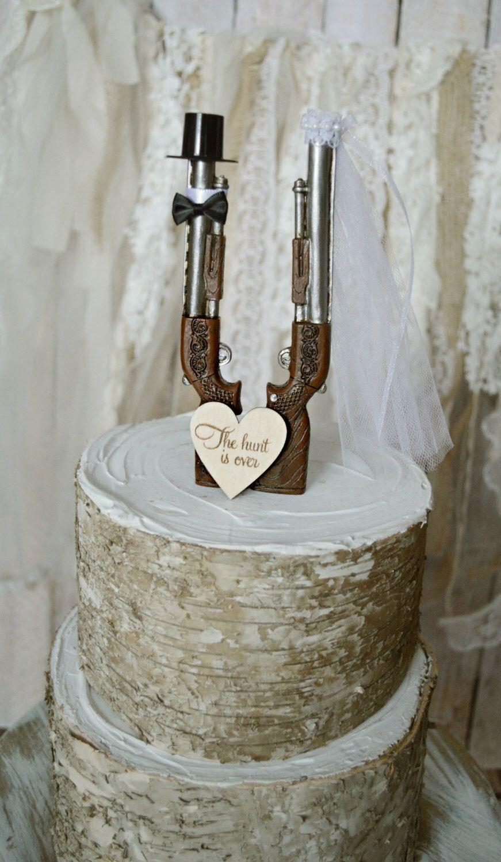 Shot Gun Hunting Themed Wedding Cake Topper Grooms Cake Hunting