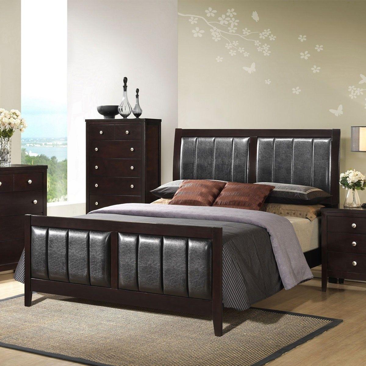 Tall Headboard Upholstered Platform Bed Frame Bedroom