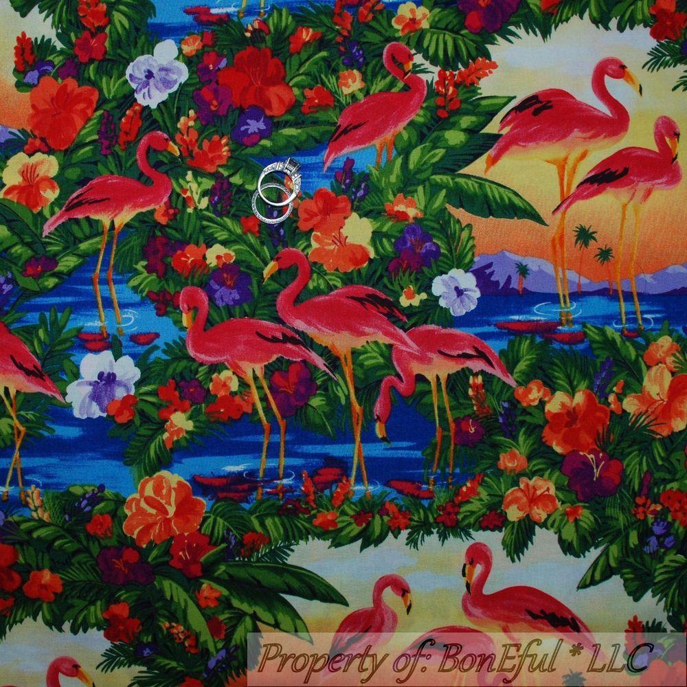 BonEful Fabric FQ Cotton Quilt Rainbow Pink Flamingo Florida Beach Scenic Flower