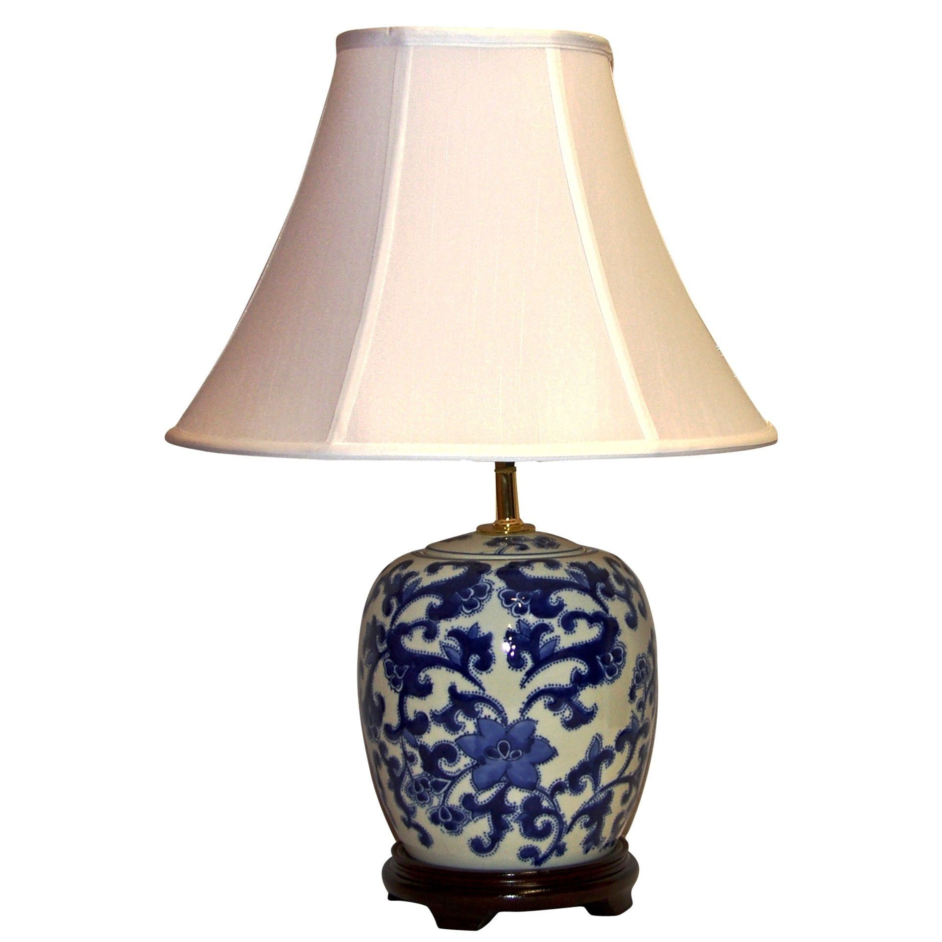 Crown Lighting 1-light / White Decorative Floral Swirl Table Lamp