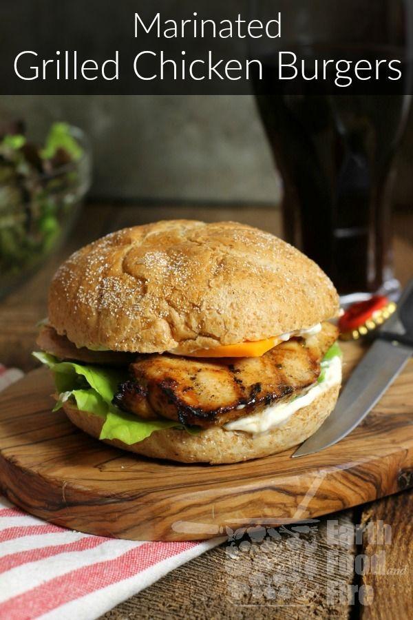 Burgers de poulet grillés marinés - Grill