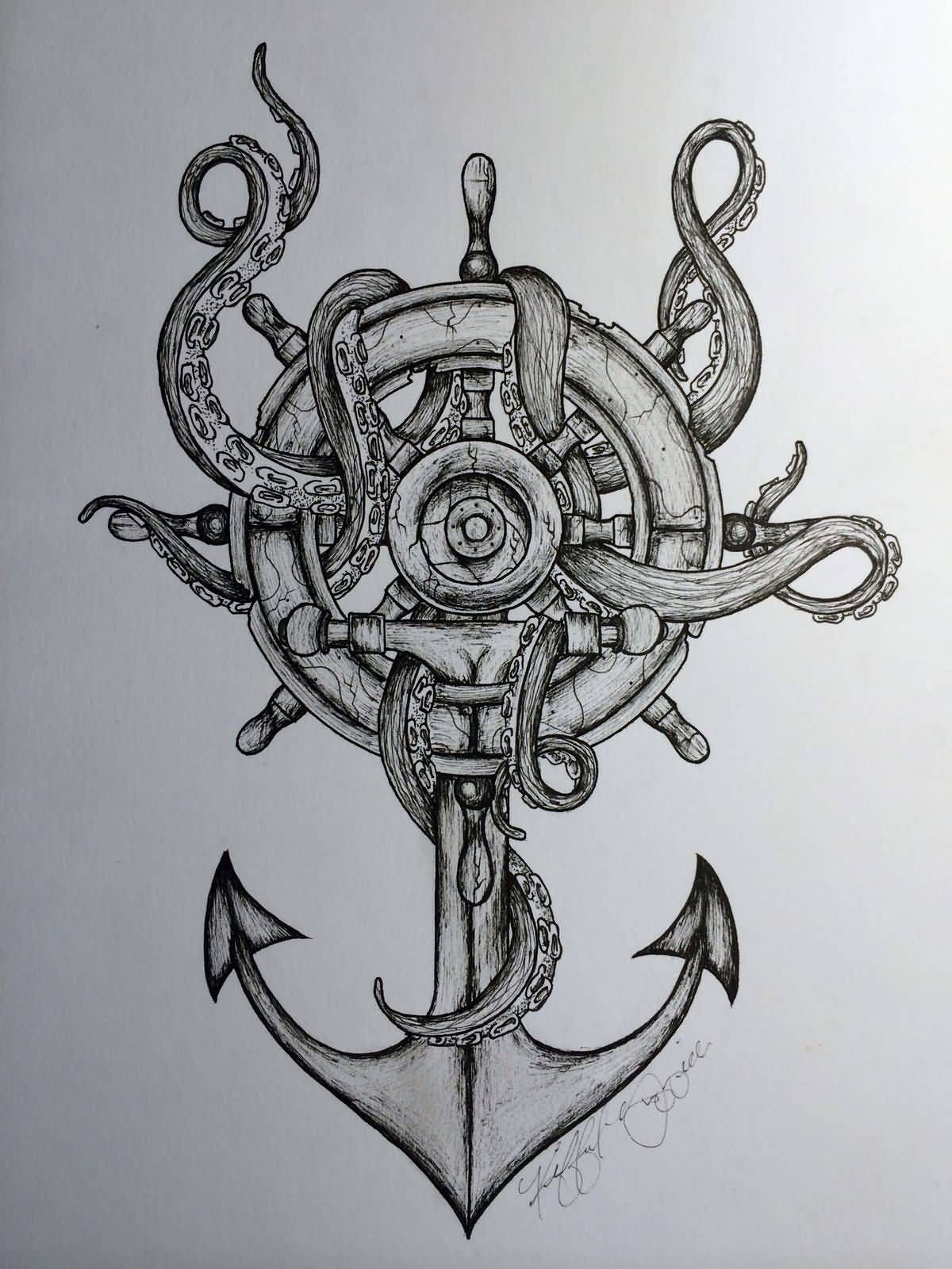 Black And Grey Octopus With Ship Wheel And Anchor Tattoo Design Octopus Tattoo Design Pirate Tattoo Sleeve Tattoos