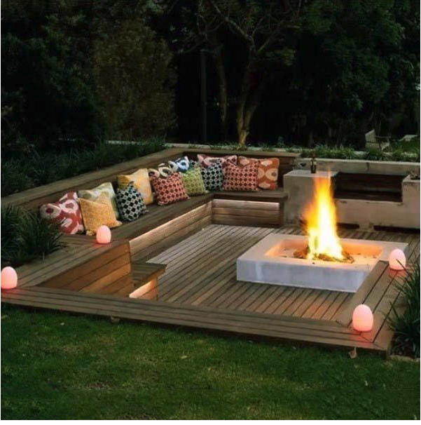 Built In Deck Seating With Fire Pit Bench Builtin Deck Designs Firepit Firepit Area Firepit Diy Backyard Seating Area Backyard Seating Fire Pit Backyard