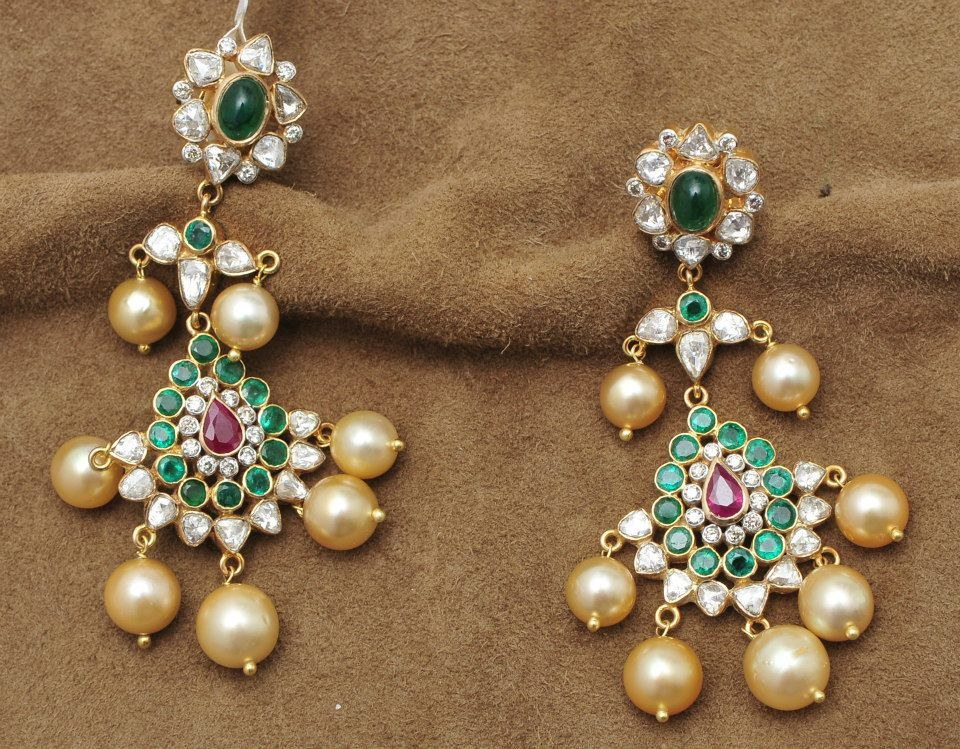 ruby-emeralds-uncut-gold-jhumkas | Indian jewellery | Pinterest ...