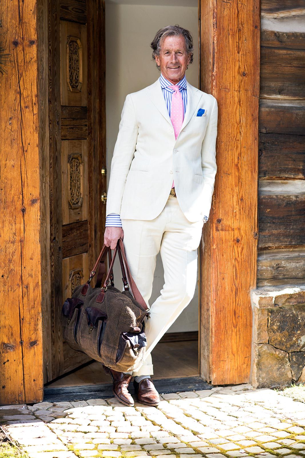 A classic cream colored linen/silk summer suit with a contemporary ...