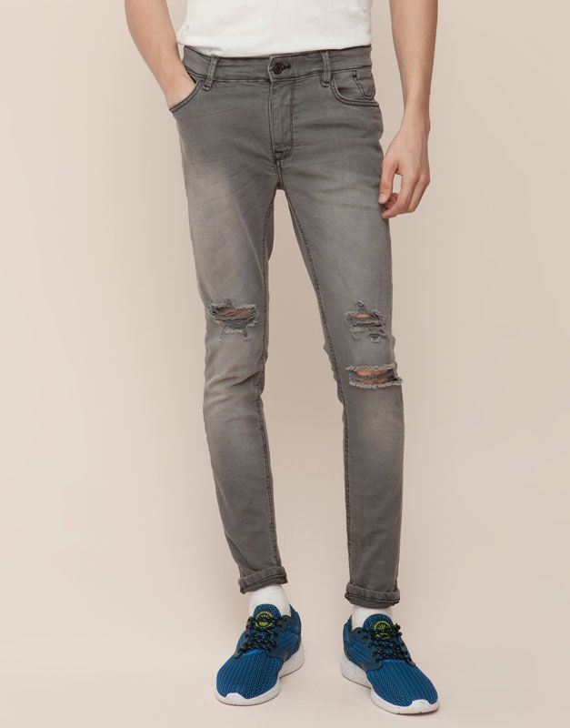 Jeans Skinny Fit Con Rotos Jeans Hombre Pull Bear Espana Jeans Skinny Jeans Hombre Pantalones Vaqueros Hombre