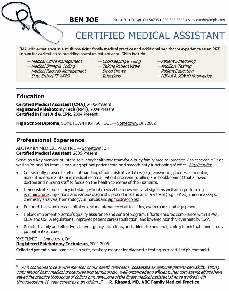 40 Medical assistant Resume Template in 2020 Medical