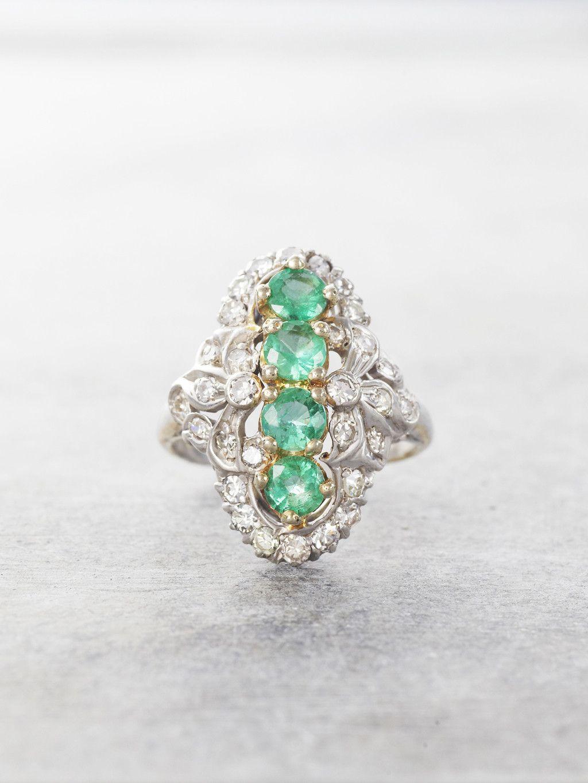 1920'S Emerald & Diamond Heirloom Antique Ring Antique
