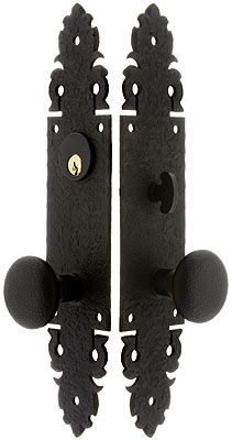 Warwick Long Plate Mortise Entry Set With Black Lacquer Finish ...