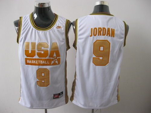 online store f2d0b afefe Nike Dream Team USA Olympic 9# Michael Jordan White With ...