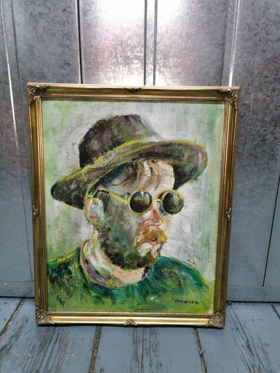 Kaff Gerrard Kathleen Leigh Pemberton painting oil / acrylic on board portrait Van Gogh style  Liste