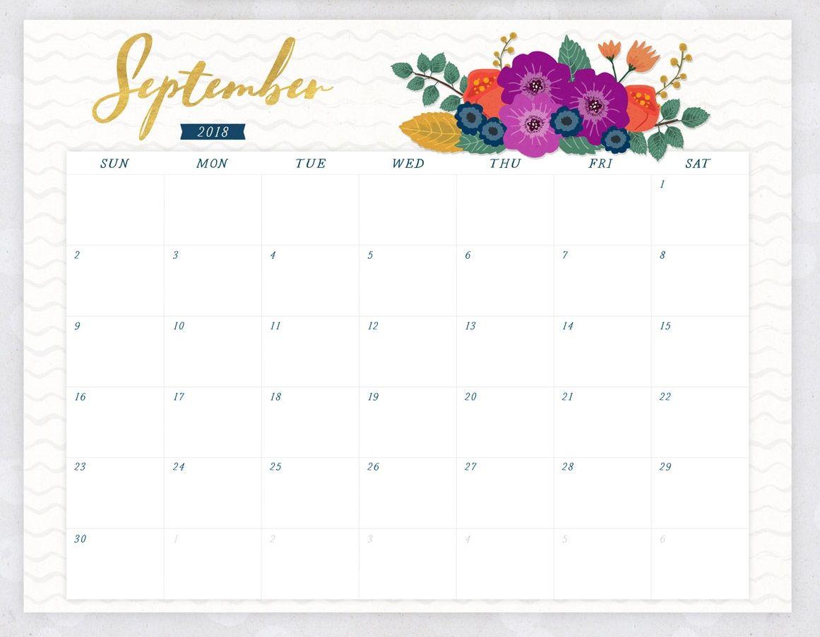 September 2018 Flower Calendar | 2018 Printable Calendars