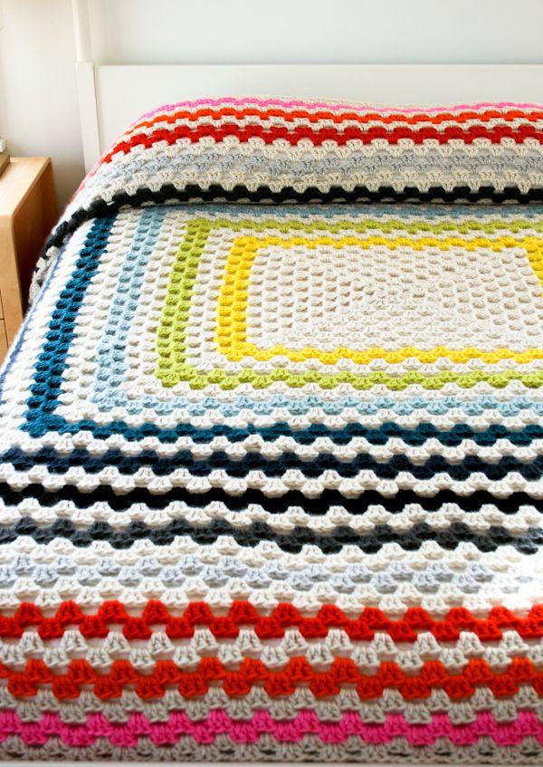 Gigante Granny Square Manta - The Bee Purl - Tejido Crochet patron ...