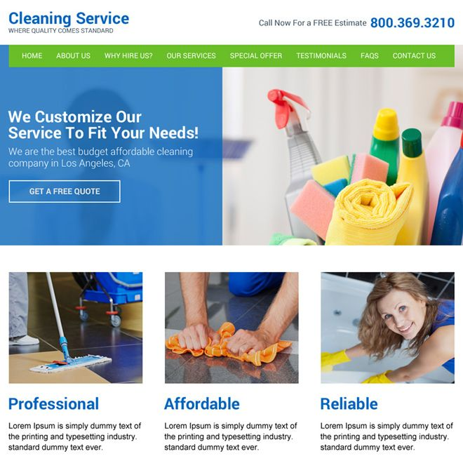 Cleaning Service Company Website Design Template Services Example