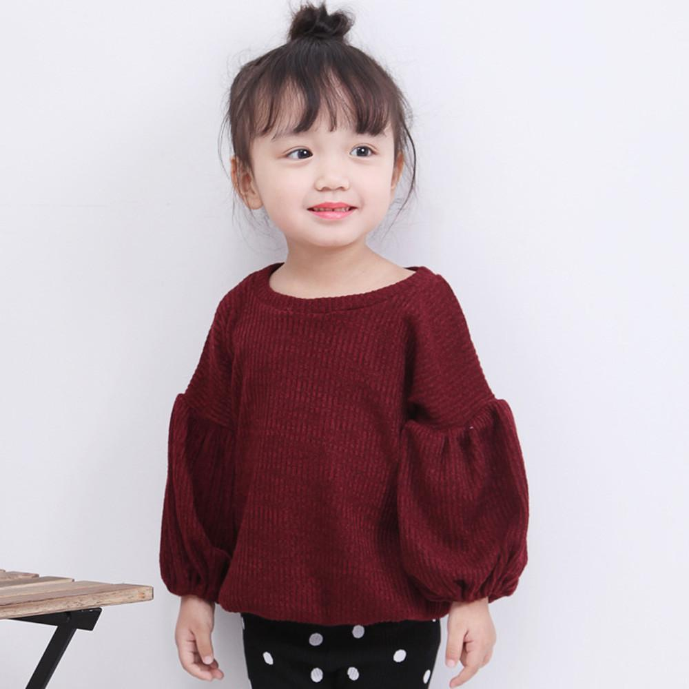 Toddler Infant Baby Kids Girls Solid Lantern Sleeve Shirt Tops Outfits Clothes