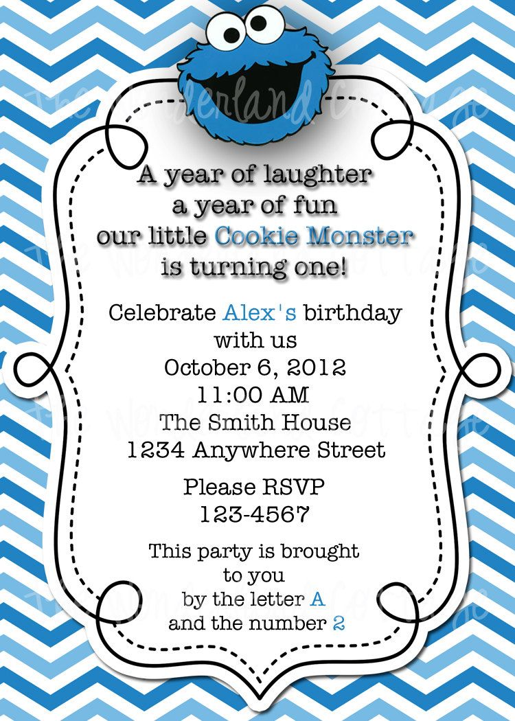 Sesame Street Cookie Monster Invitation and Thank You for Birthday ...