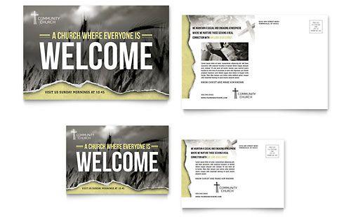 Bible Church Postcard Template Design Флаеры Pinterest - Marketing postcards templates