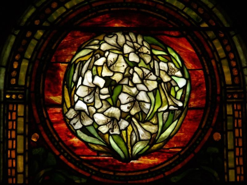 Description: Buffalo, New York (NY): Episcopal Church of the Good Shepherd: Lillies and Scroll-work (1888, Tiffany Studios)