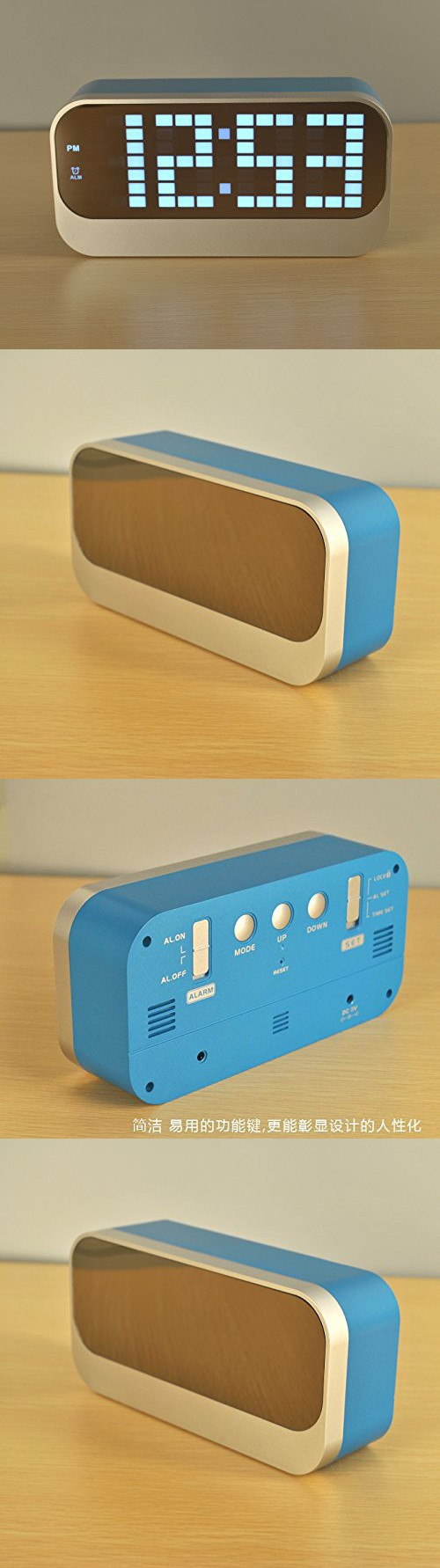 Alarm Clock,Bigaint Creative LED Digital Electric Alarm Clock with Luminous,Backlight,Temperature Function-Blue