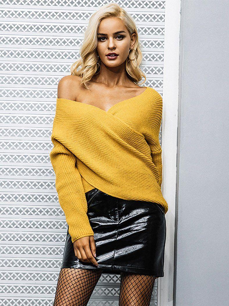 ab4fadd7a75 V Neck Cross Knitted Sweater Winter Casual Jumper – BelleChloe