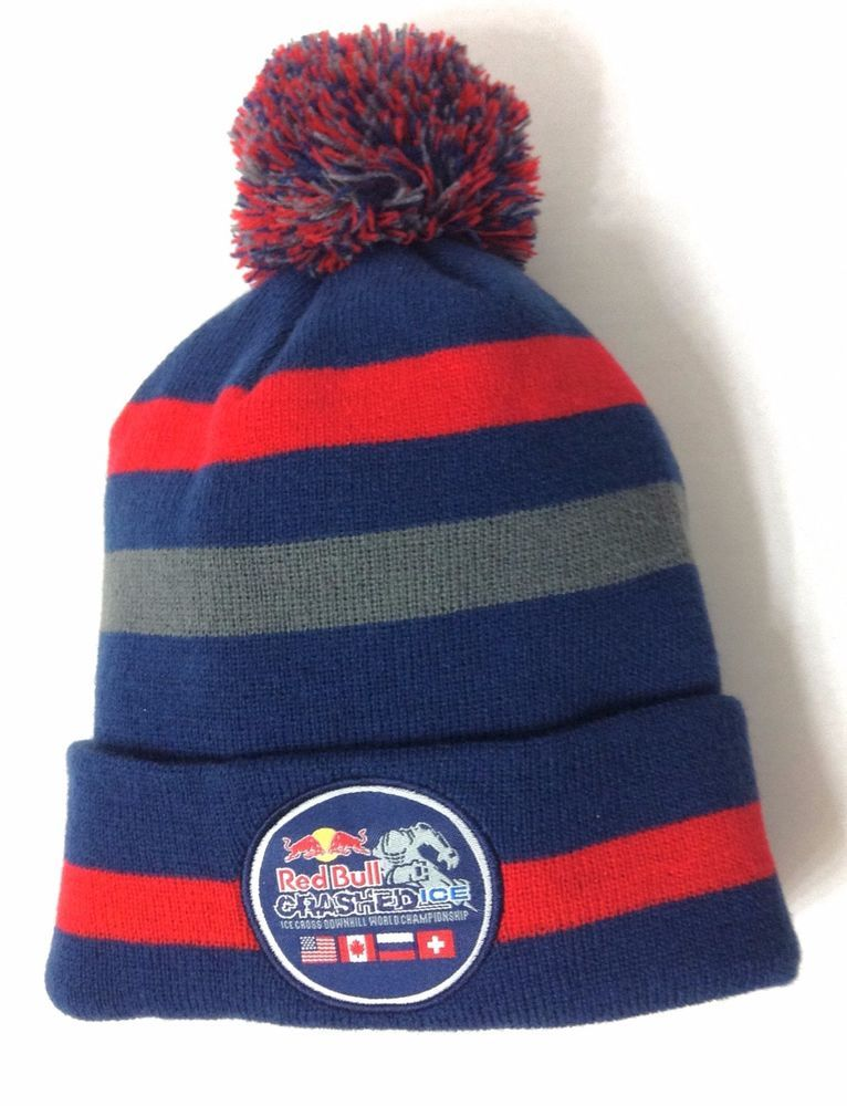 PAUL RED BULL CRASHED ICE CROSS POM BEANIE Blue Red Winter Hat Men  Neff   Beanie d91be4d7c80