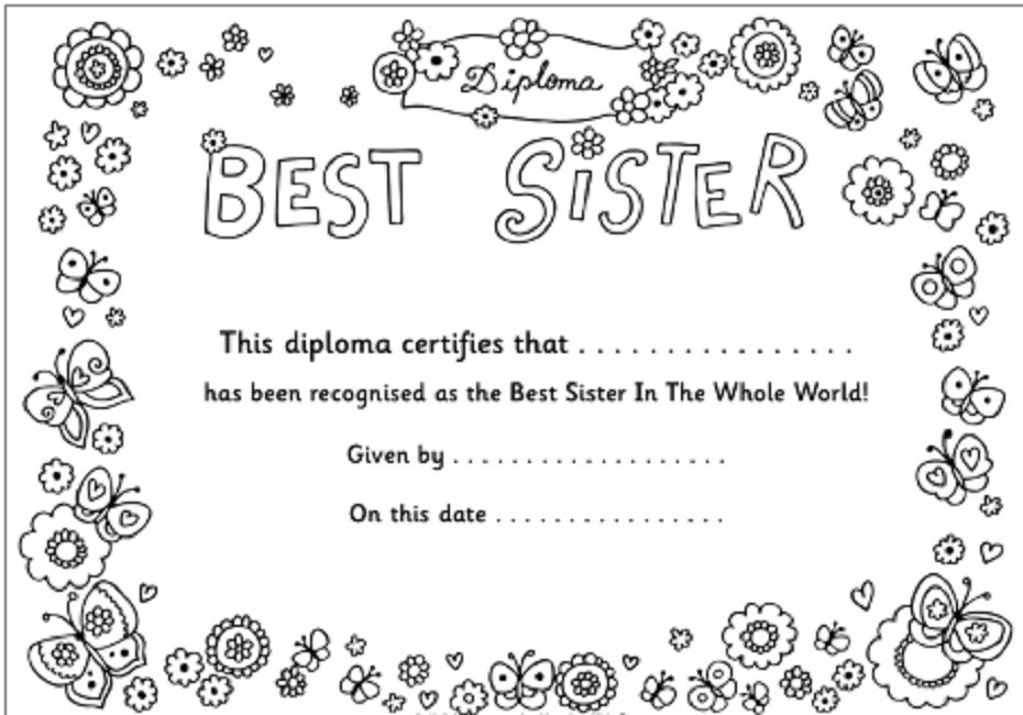 Love My Sister Coloring Pages Best Sister Sisters Printable Love My Sister