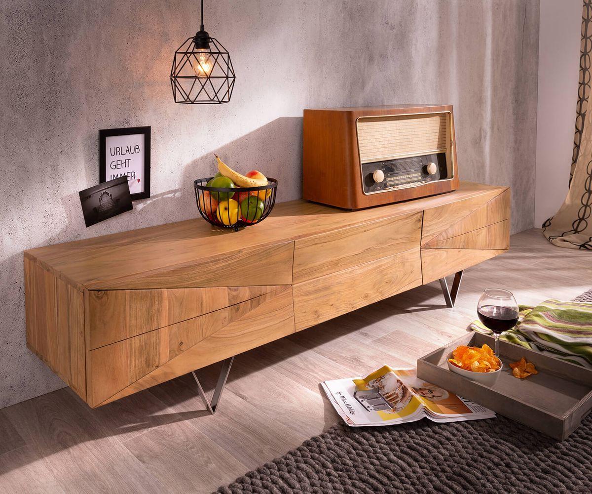 Designer Lowboard Wyatt 175 Cm Akazie Natur 1 Klappe Haus Deko
