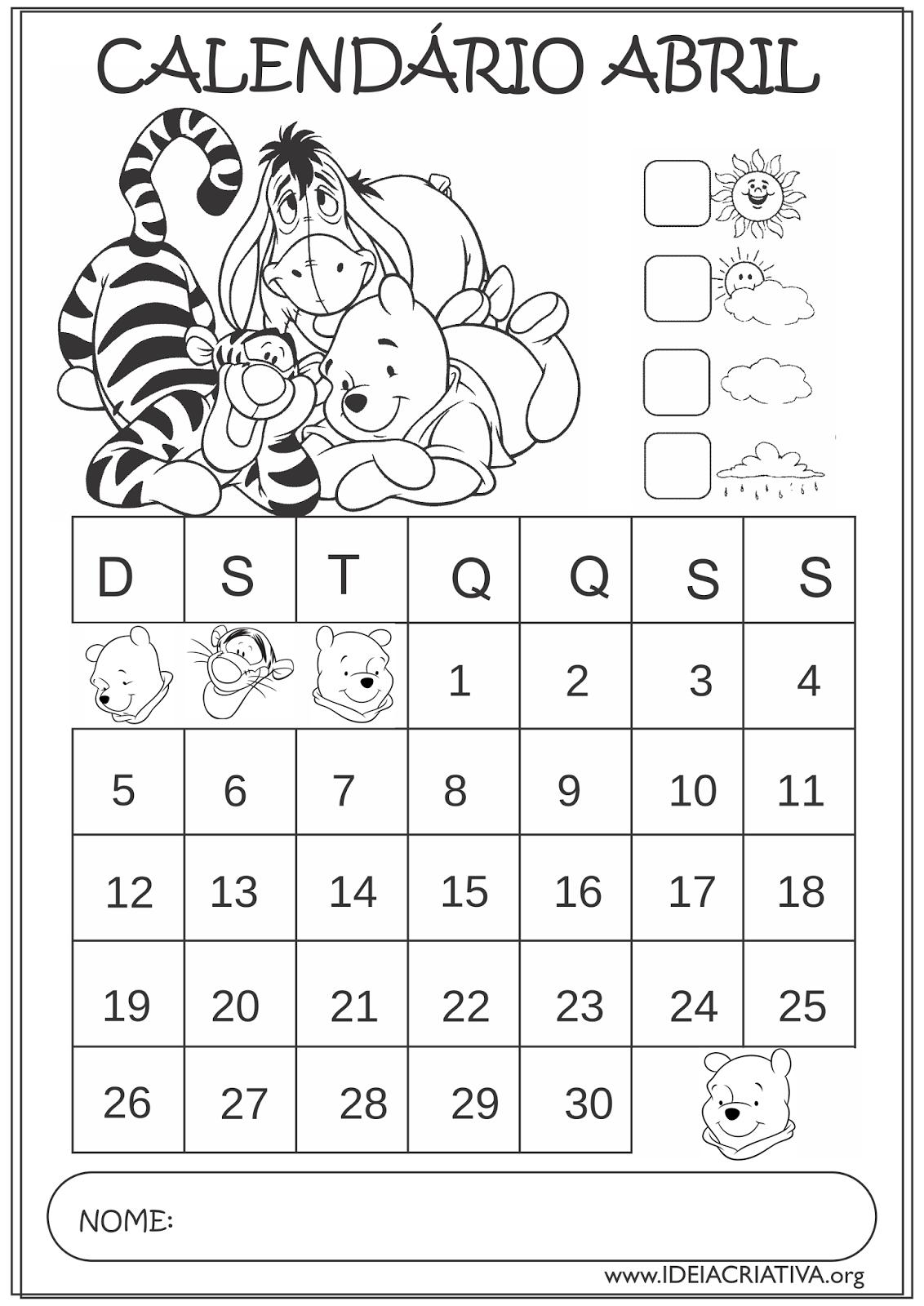 Calendários Abril 2015 Turma do Ursinho Pooh para Colorir ...