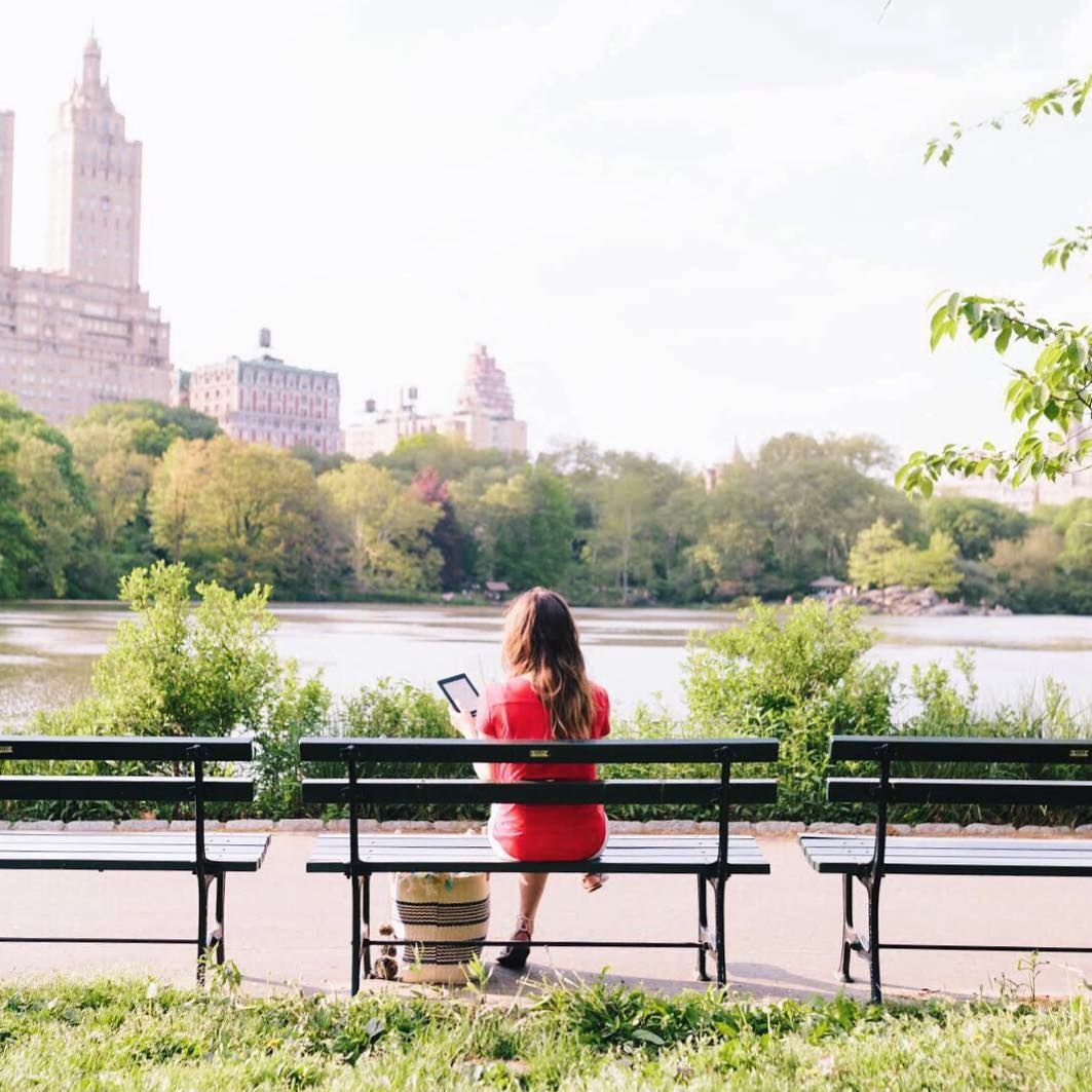 """newyorkcity on Instagram: """"Taking a break from the busy city in a quiet corner of Central Park. Follow the rest of my New York staycation over at @amazonkindle. #sp #haveKINDLEwillTRAVEL"""""""