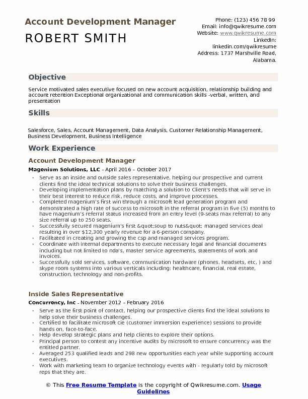 Business Development Representative Resume Fresh Account Development Manager Resume Samples