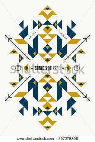 Music poster template. Vector tribal, ethnic, aztec, indian art ...