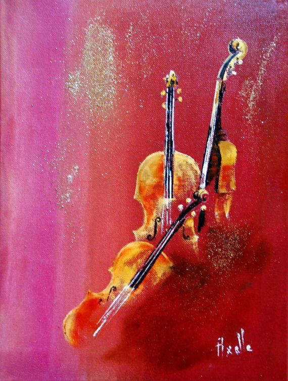 Tableau trio de violons peinture à l'huile