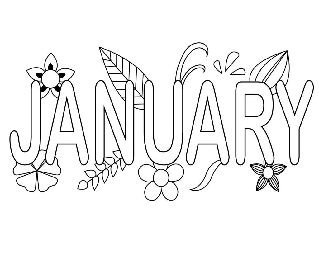 January Coloring Pages, preschool, toddler,kids, to print