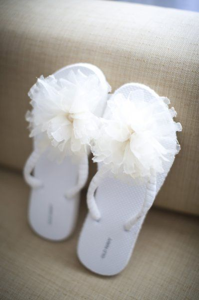 3846a8d0eaee Flowered flip flops a comfy option for the bride.