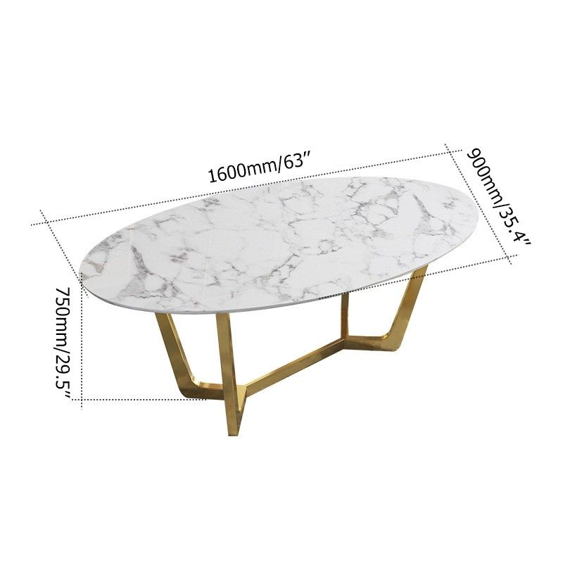 Oval Dining Table White Faux Marble Dining Table Modern 63 In 2020 Dining Table Marble Oval Table Dining Faux Marble Dining Table