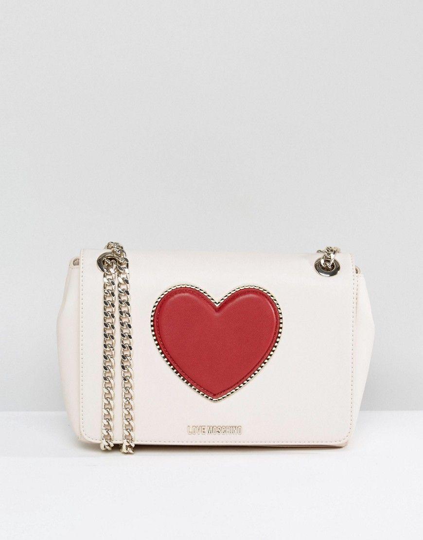d67b81ea2b16 LOVE MOSCHINO HEART SHOULDER BAG - CREAM.  lovemoschino  bags  shoulder bags   silk  suede