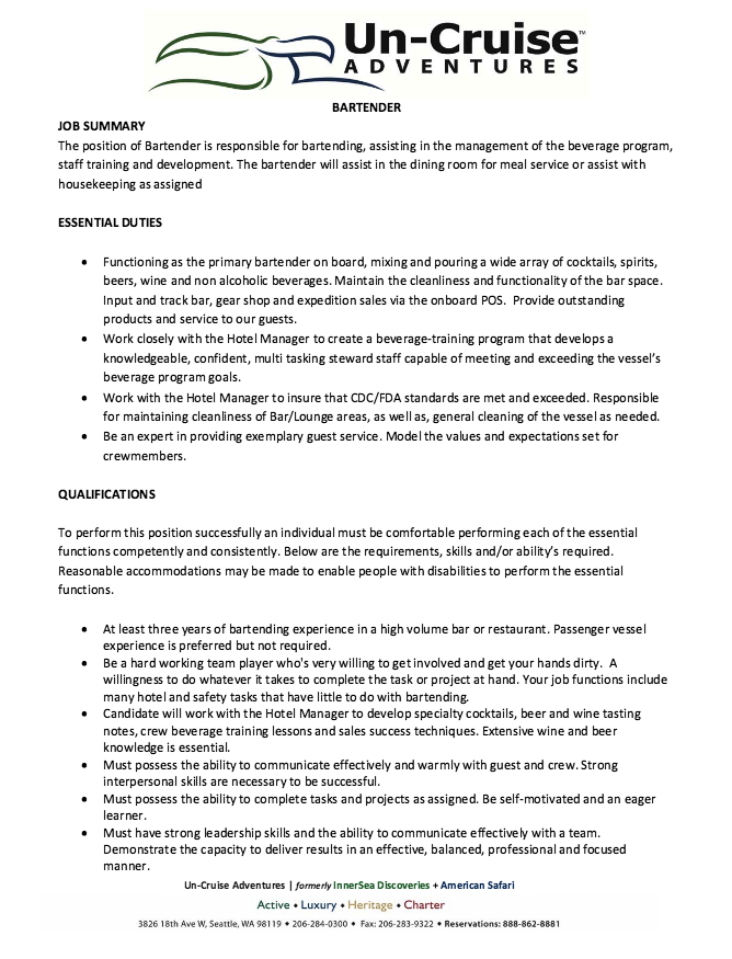 Bartender Resume Cover Letter Real World Sample