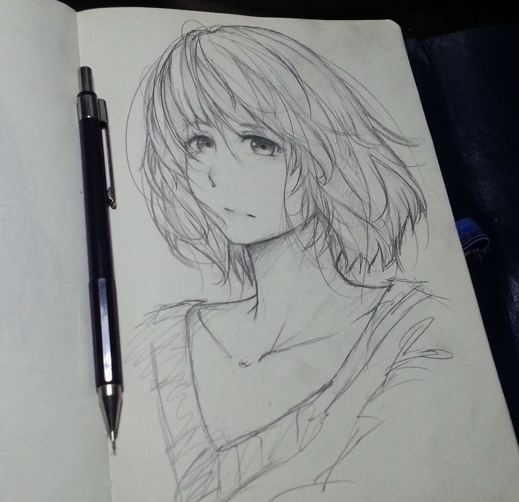 Raizo takumi anime manga pencil sketch monochrome girl