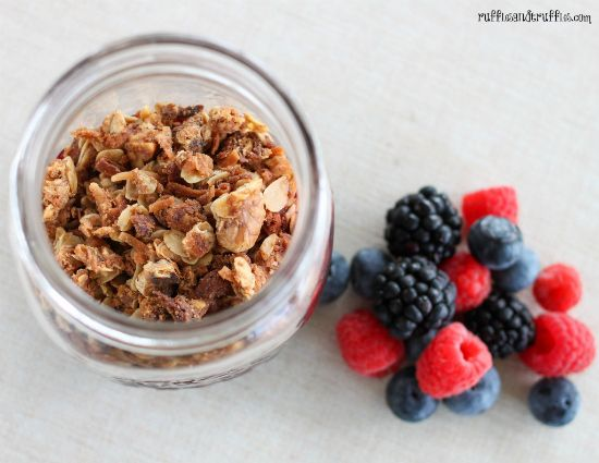triple berry crisp in a jar