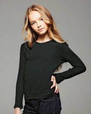 Bella - Girls Baby Rib Long Sleeve T-Shirt - only $6.10 at ClothingShopOnline.com | #youth #fashion #deals #discount #designer #brands #apparel #girls #longsleeve #tshirt #cheap