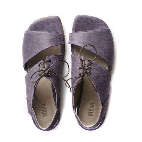 flat sandals women leather sandals purple sandals by MYKAshop
