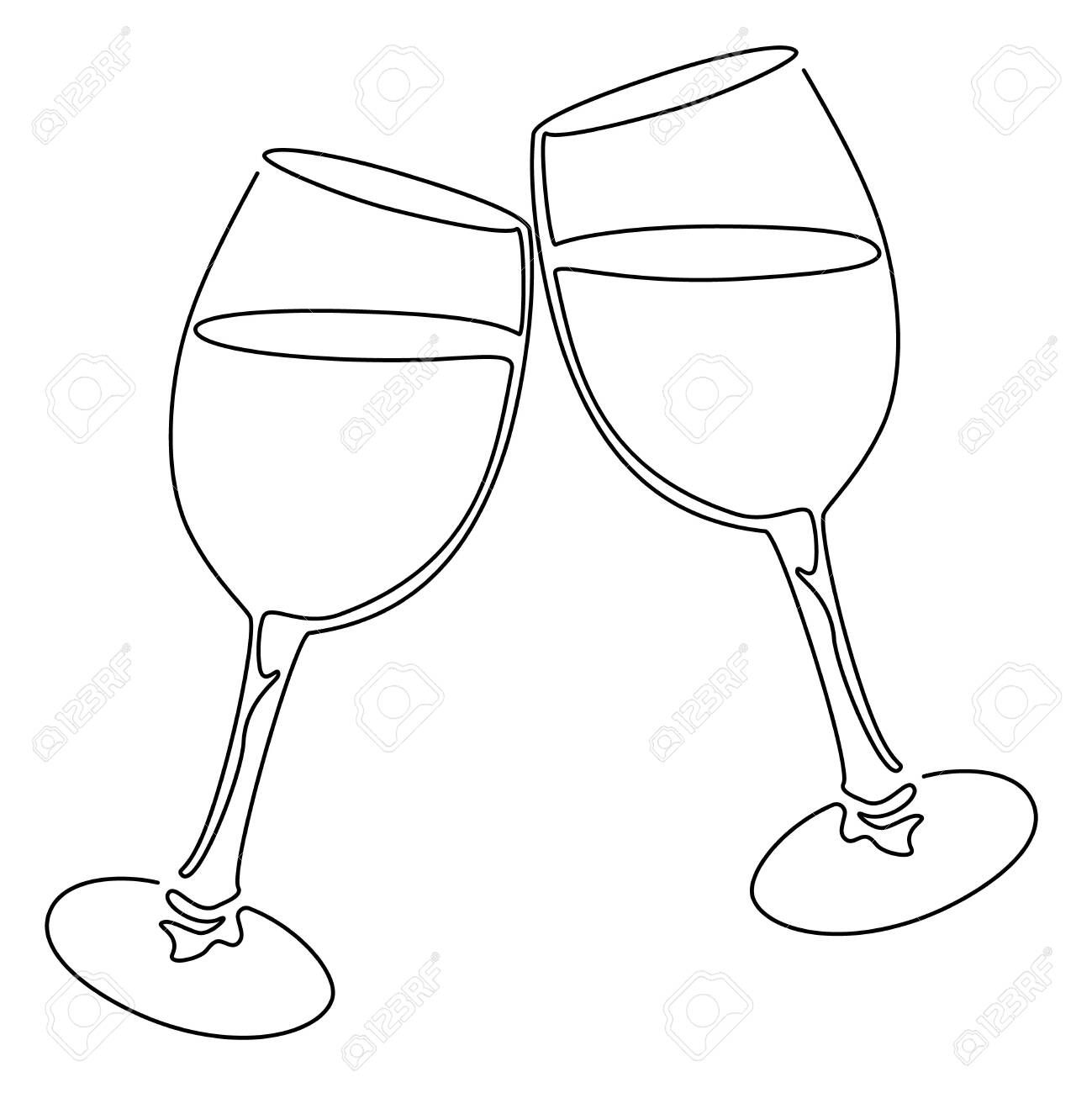 36+ Champagne glasses clipart black and white information