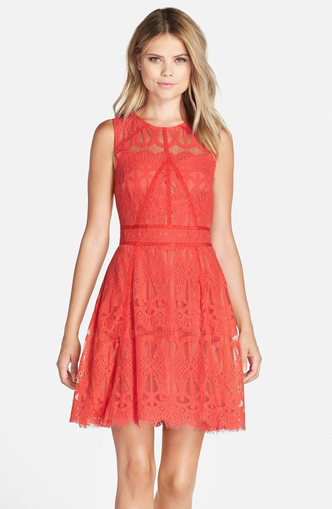 6ab8518a46ed2 So pretty for a coral Signature Color! Adelyn Rae Sleeveless Lace Fit   Flare  Dress