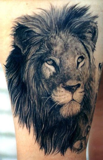 343c90031d23e Beautiful! Lion Tattoo On Thigh, Mens Lion Tattoo, Leo Lion Tattoos, Lion