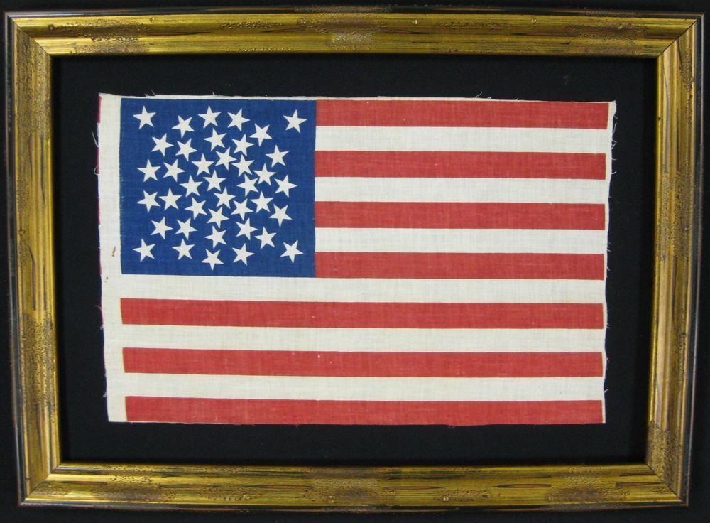Framed 39 Star Antique US United States Flag - Patriotic Folk Art ...