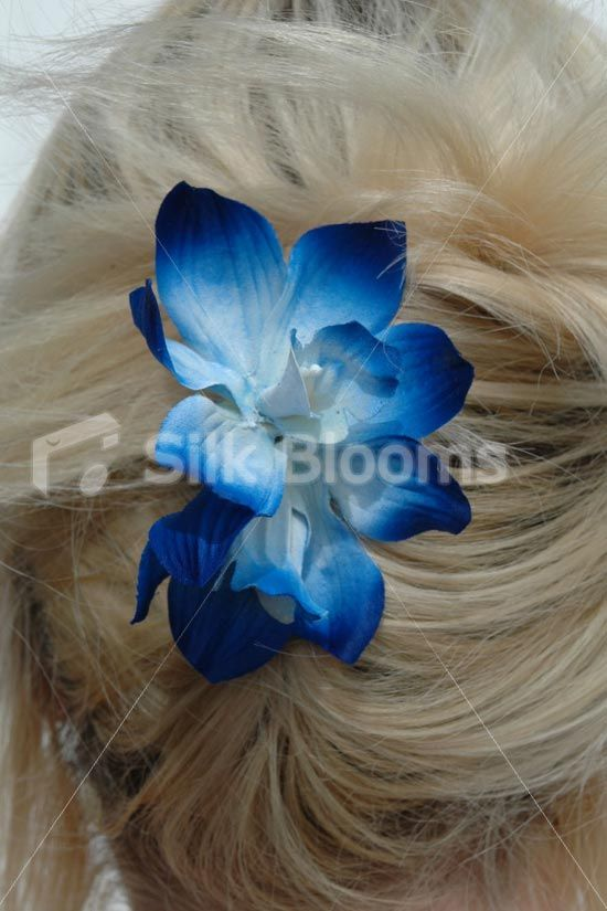 19 99 Modern Realistic Galaxy Blue Orchid Wedding Flowers Hair Comb Blue Orchid Wedding Artificial Flowers Wedding Orchids Wedding Flowers