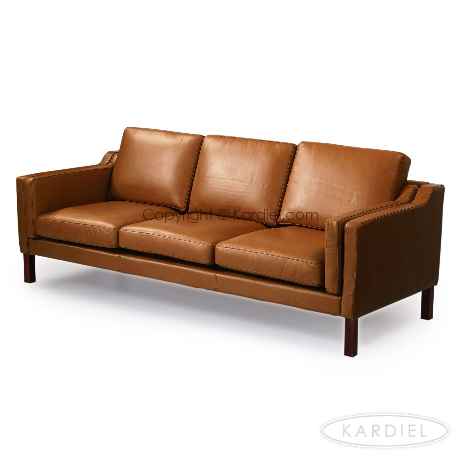 Modern, carmel color leather sofa | Monroe Mid-century Modern Sofa ...